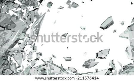 Sharp pieces of smashed glass on white - stock vector