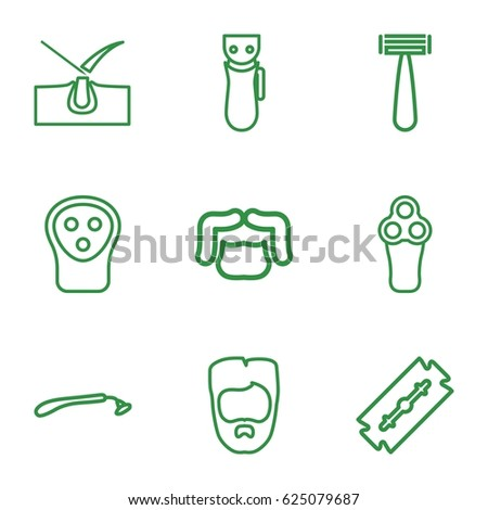 Shave icons set. set of 9 shave outline icons such as razor, electric razor, shave hair in skin