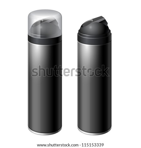 Shaving gel foam. Black color. With lid and without Realistic vector illustration