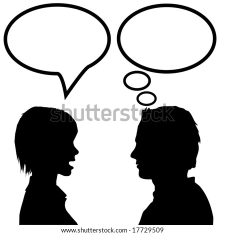 She says he listens. A couple discuss as the woman talks in a speech bubble and the man listens and thinks in a thought bubble. - stock vector