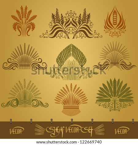 sheaf silhouette set with ear and hop pattern - stock vector