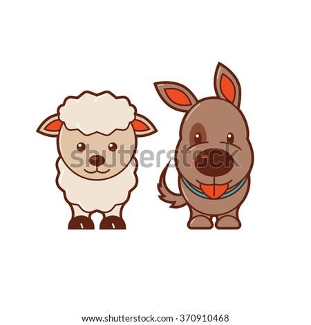 Sheep & Dog. Cute Animal Illustration 8 - stock vector