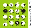 Sheep, good and different # 04. Set for the press on T-shirts. - stock vector