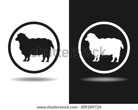 sheep icon, vector illustration. Flat design style. - stock vector