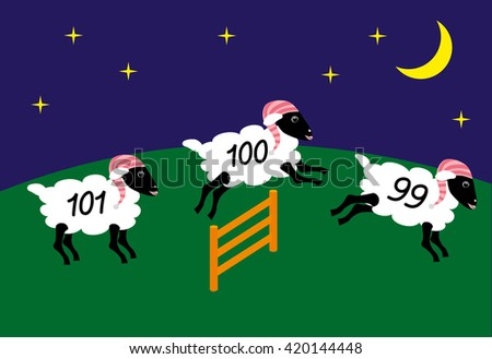 Sheep in a nightcaps with numbers are jumping over the fence to help falling asleep flat design - stock vector