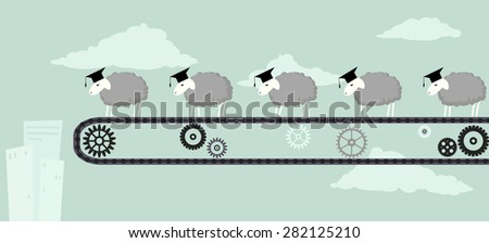 Sheep in academic graduation caps standing on a conveyor belt, moving toward the abyss, vector illustration, EPS 8 - stock vector