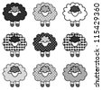 Sheep in black and white patchwork gingham and polka pots, for scrapbooks, albums, EPS8 compatible. - stock vector