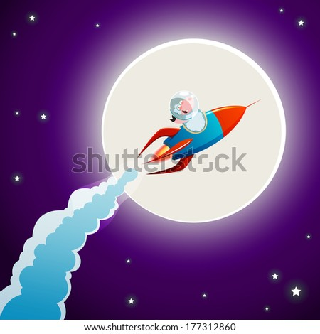 Sheep in space - stock vector