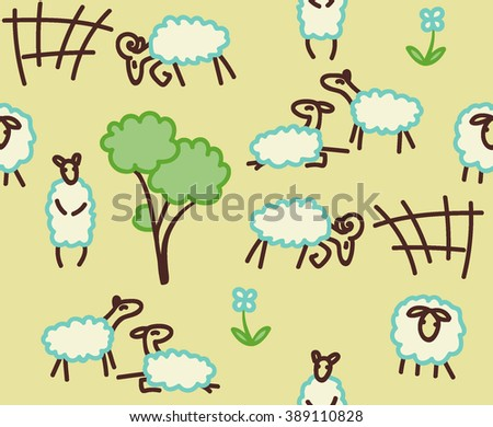 Sheep in the pasture. Seamless pattern. Vector. - stock vector