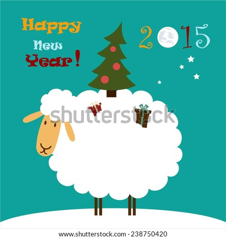 Sheep is a Christmas tree on her back  illustration - stock vector