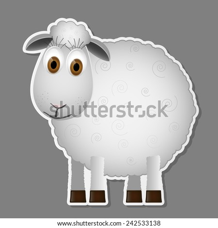 Sheep isolated on grey background. Vector illustration.  - stock vector