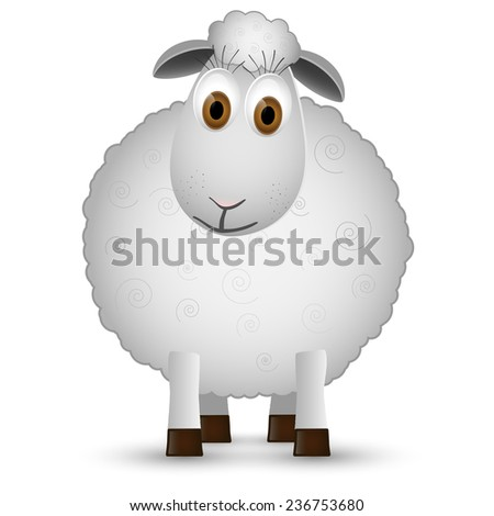Sheep isolated on white background. Vector illustration. - stock vector
