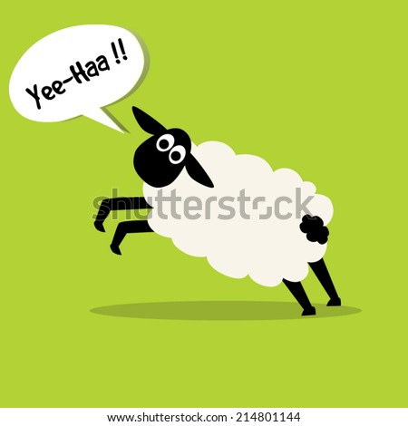 sheep jumping and say Yee-Haa,illustration design. - stock vector