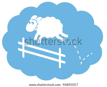 Sheep jumping over a fence in a cloud sleep bubble. - stock vector