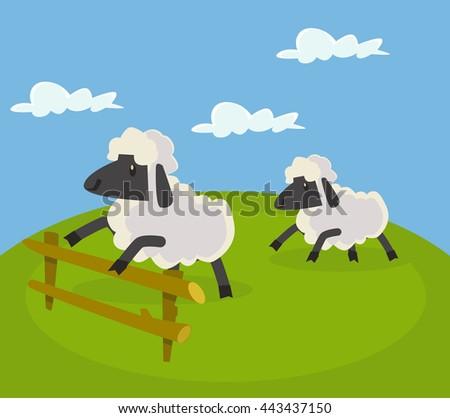 Sheep jumping over fence. Vector flat cartoon illustration - stock vector
