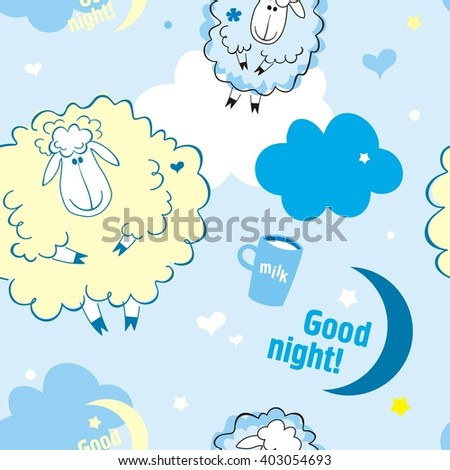 Sheep on clouds, good night!  Cute cartoon childish seamless pattern in vector.