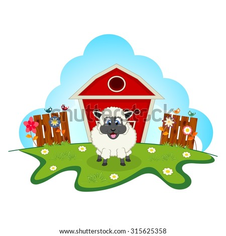Sheep on farm cartoon for your design - stock vector