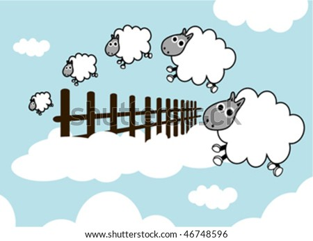 sheep on the sky jumping fence - stock vector