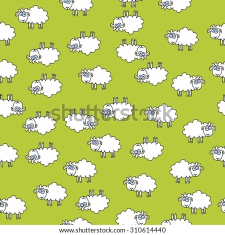 sheep pattern background - stock vector