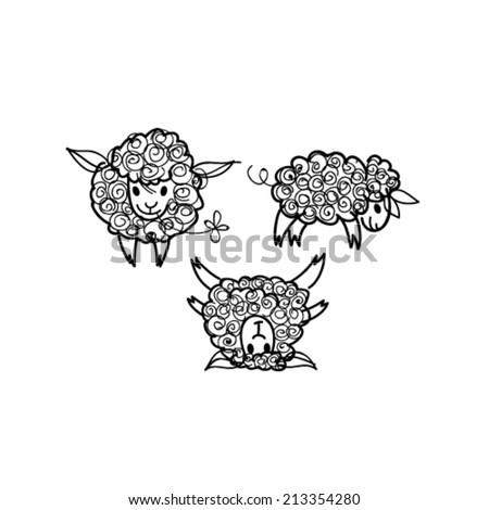 Sheep / Sketch of Three adorable animals - stock vector