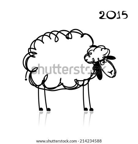 Sheep sketch, symbol of new year 2015 - stock vector