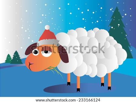 sheep vector cartoon animal illustration drawing cute - stock vector