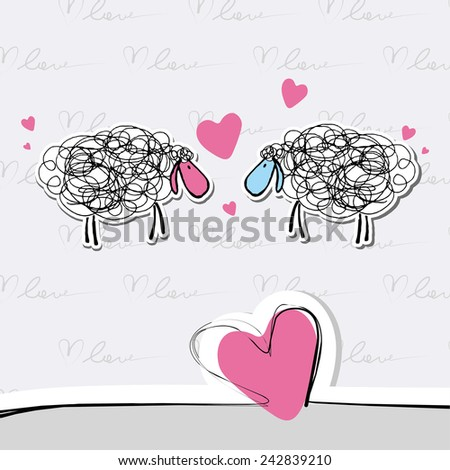 Sheep with hearts - vector illustration