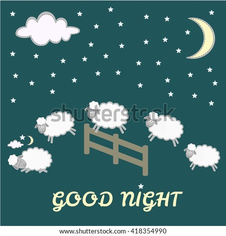 Sheeps jump over the fence. Poster with phrase Good night. Childish backgrounds with moon, stars, cloud, sheep. - stock vector