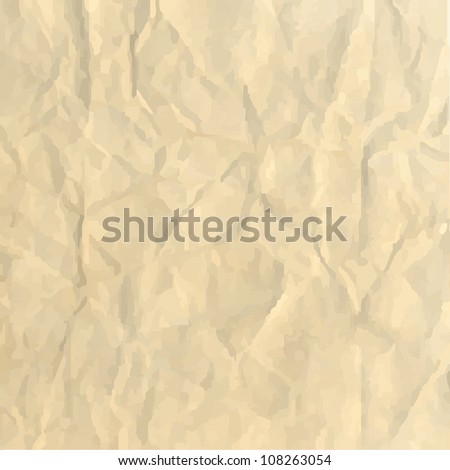 Sheet Crushed Paper, Abstract Background, Vector Illustration - stock vector