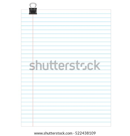 Sheet Lined Paper Notebook Paper Texture Stock Vector