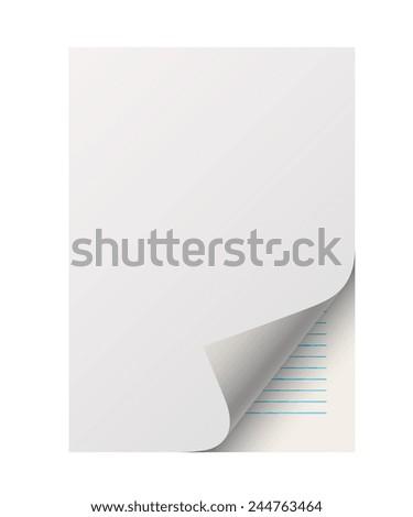 sheet of notebook paper blank, realistic vector illustration art. - stock vector