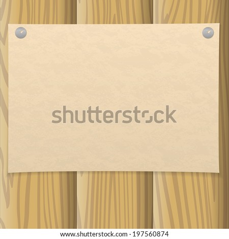 Sheet of old yellowed paper pinned on two thumbtacks on a wooden wall, design background. Eps10, contains transparencies. Vector - stock vector