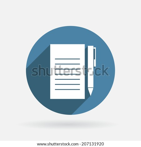 sheet of paper and a pen. Circle blue icon with shadow. - stock vector