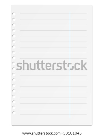 Sheet of paper notebook on a white background. Vector.