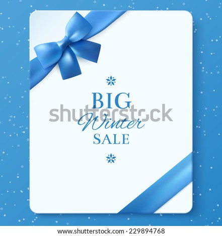 Sheet of paper with blue ribbon. Winter Sale. Design elements. Vector illustration. - stock vector