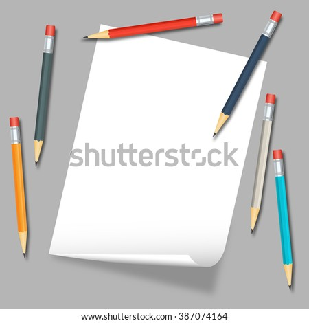 Sheet of white paper and colored pencils - stock vector