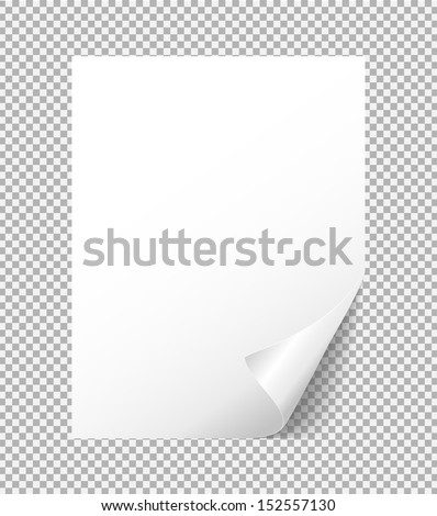 sheet of white paper with a bent corner - stock vector