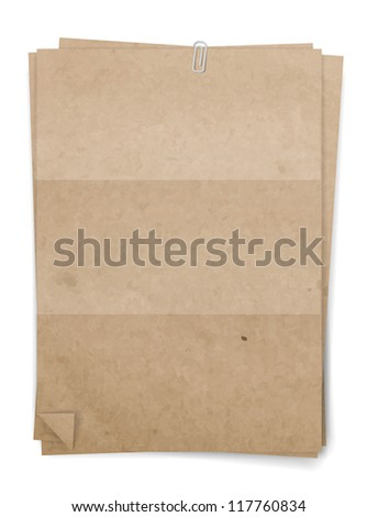 Sheets of folded vintage beige paper attached with paper clip, vector - stock vector