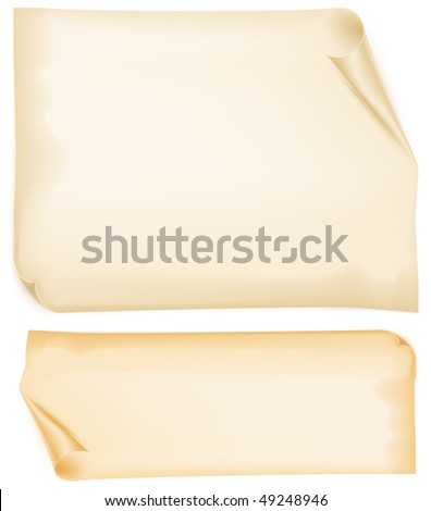 Sheets of old curled paper in yellow, vector illustration - stock vector