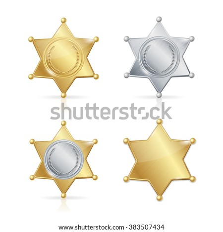 Shefiff Badge Star Set. Different Types. Vector illustration - stock vector