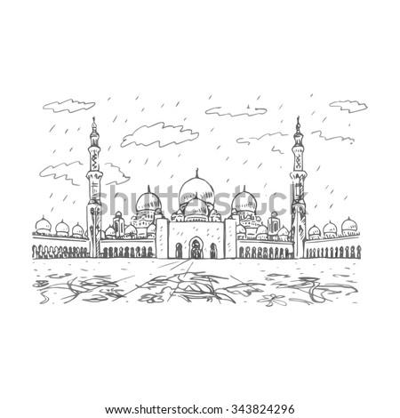 Sheikh Zayed Grand Mosque Abu Dhabi Stock Vector 343824296