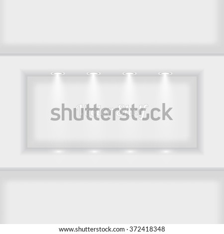Shelf For Exhibit In The Wall. Lightbox. Vector Illustration - stock vector