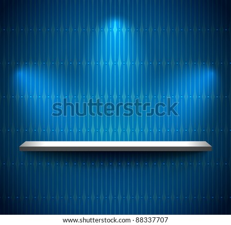 Shelf on the wall with wallpaper - stock vector