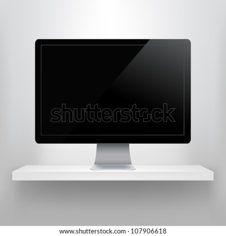 Shelf With Computer, Isolated On Grey Background, Vector Illustration - stock vector