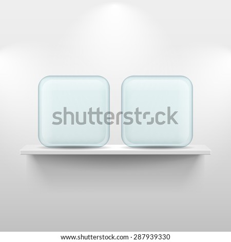 Shelf with glass app icon placeholders on white background - stock vector