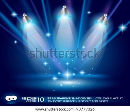 Shelf with 3 LED spotlights with old dirty look on a vintage seamless wallpaper. Shadows are transparent. - stock vector