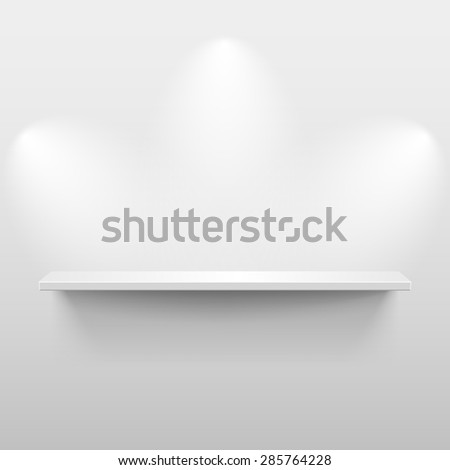 Shelf with light and shadow in empty white room - stock vector