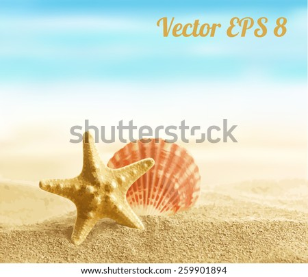 Shell and starfish on sandy beach vector illustration EPS 8. - stock vector