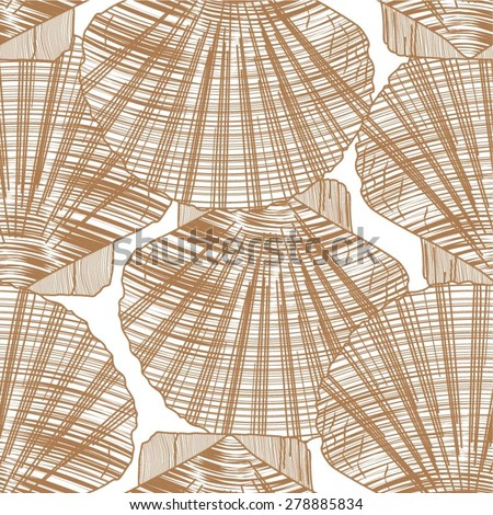 Shell in the ancient pattern, seamless vector background. - stock vector