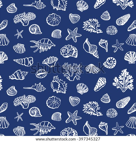 shell sea life vector pattern